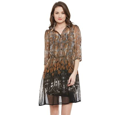 Multi Abstract Printed Flaired Shirt Dress