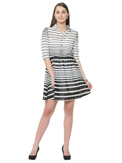 Black White Stripes Flaired Shirt Dress