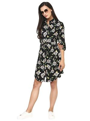black Georgette Black Flower Print Shirt Dress