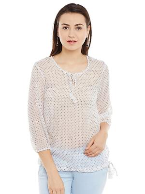 White Dotted Print Top