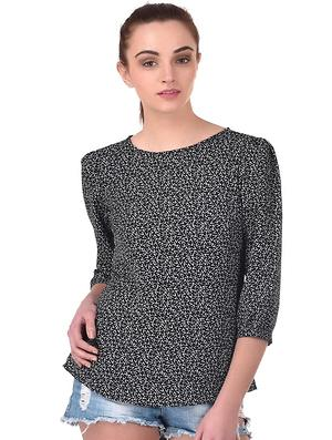 Black White Abstract Print Top