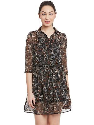 Black multi print shirt dress
