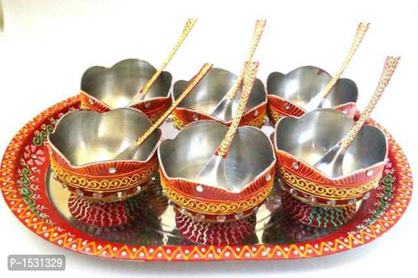 Cone work steel decorated dessert bowls ( 1 tray 6 bowls 6 spoons )