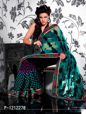 Green Multi Net Georgette Embroidered Saree