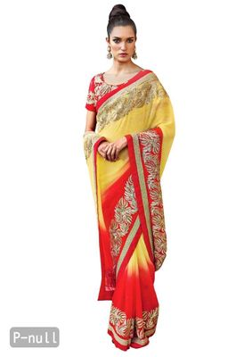 Designer Partywear Yellow Red Embroidered Chiffon Saree