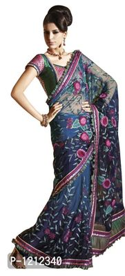 Net Crepe Blue Embroidered Indian Saree