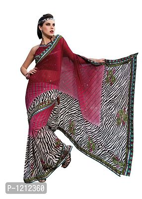 Printed With Highlight Embroidery Maroon Multi Georgette Saree