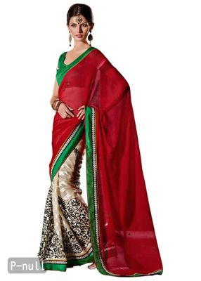 Red off white Embellished Chiffon Georgette saree
