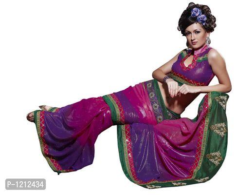 Designer Multi Shimmer Georgette Embroidered saree