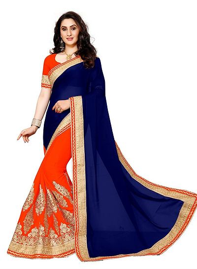 Navy Blue Heavy Embroidery With Heavy Hand Work Saree