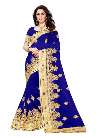 Blue Heavy Embroidery With Heavy Hand Work Saree