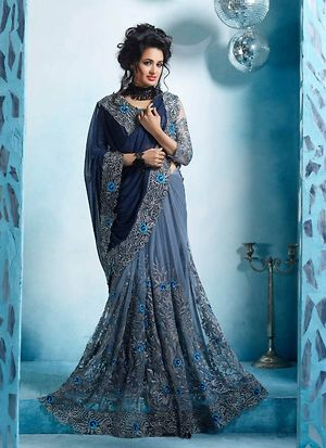 Grey And Blue Georrgette & Net Embroideried Saree With Blouse Piece