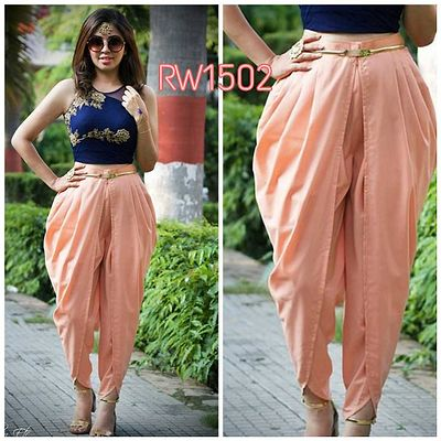 Peach Satin Dhoti With Blue Unstitched Silk Top