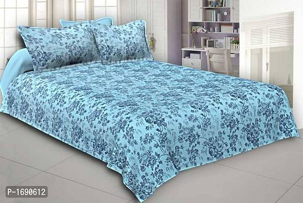 pure cotton king size double bedsheets with 2 pillow covers  Color : Green  Fabric : Cotton  Type : King (double bed) Size  Style : Floral  Set Content : 1 Bedsheet + 2 Pillowcovers  Length : 90 (in i