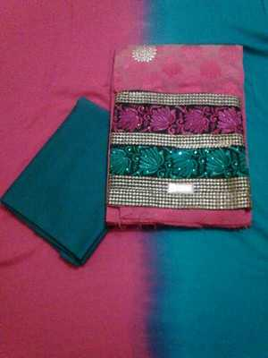 Cotton Dress Material with lace border