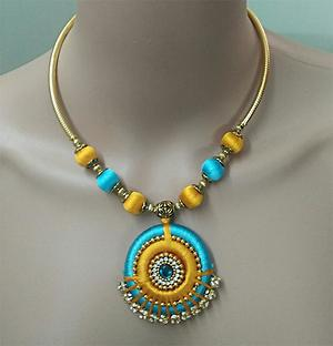 blue and yellow necklace
