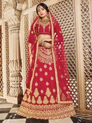 Red Color Embroidered Lehenga