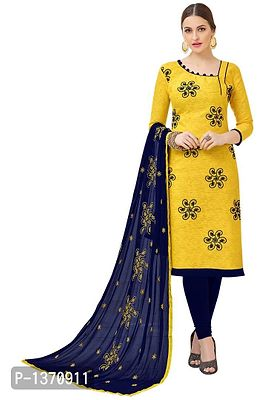 Yellow Semi Stitched Embroidered Cotton Bombay Jacquard Dress Material