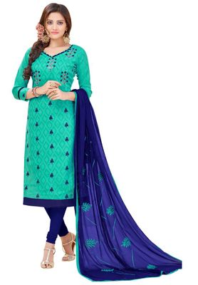5c648a9989047e Vandv Shop Green Cotton Semi Stitched Dress Material - Buy latest ...