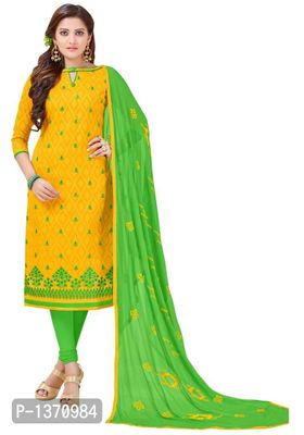 Yellow Semi Stitched Embroidered Cotton Jacquard Dress Material
