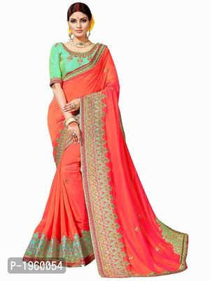 Orange Embroidered Georgette Saree With Blouse Piece