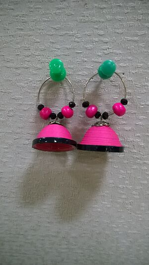 PINK Quilling earring by Saranya Moorthy's Shop