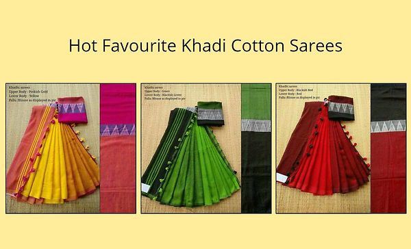 Hot Favourite Khadi Cotton Sarees