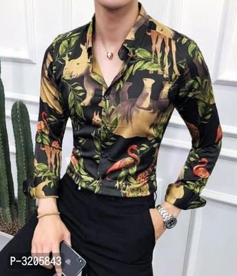 Men's Multicoloured Cotton Blend Printed Long Sleeves Regular Fit Casual Shirt