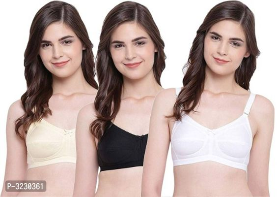 Non Padded  Cotton Full Coverage Bra - Pack of 3