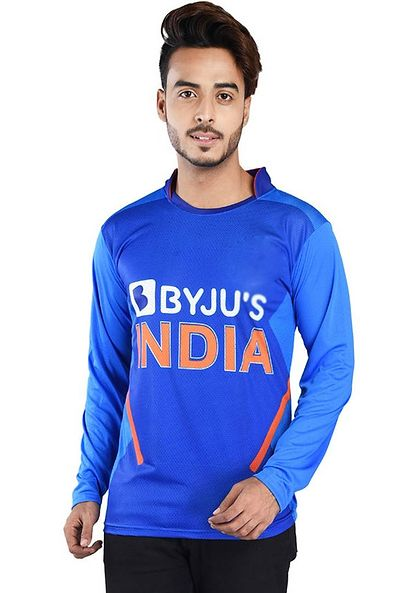 Men Blue Printed Polyester Sports Jersey