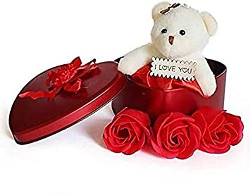 Soft Toy Red Artificial Flower Gift Set