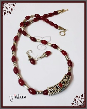 Product code: MC 1822295 Meroon agate long beads necklace with german silver tube pendant.