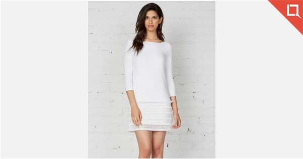 Bailey 44 White 3/4 Sleeve Party Dress