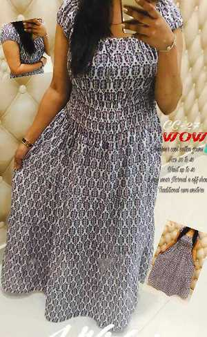 🎀Cute sleeves C dress🎀 Cn wear Normal and off shoulder as well 📍Cotton Gown dress 📍Cute sleeves 📍Full length 📍Ready to wear 📍Casual dress 📍lining attached in waist   Fabric :: pure soft Cotton Length on pic Bust size ::30 32 34 36 38 40  Waist up to 38
