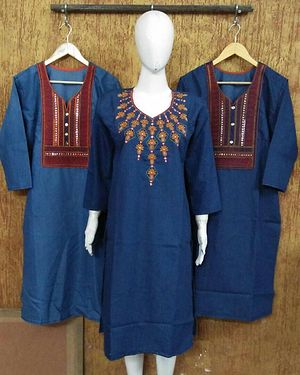 *DESIGNER DENIM KURTIES WITH NEW ARTICLES ADDED* *SOME ARE EMBROIDED SOME ARE PRINTED*  SIZES :  XL, XXL  LENGHT 40