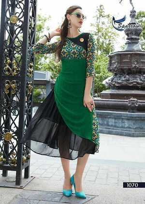 """Description : """""""""""""""""""""""""""""""""""""""""""""""""""""""""""""""""""""""" Kurti : 👗👗 (Fabric –Georgette)  [Size –XL(42), XXL(44)]  [Style –Embroidery Work]  [Look –Western Style]   [Length –45"""" inches]   Lining : 👗👗 (Fabric –Santoon),"""