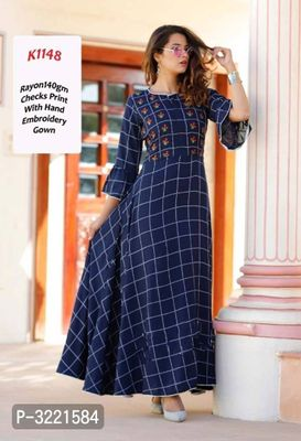 Reliable Navy Blue Checked Rayon 140 GM Women's Gown
