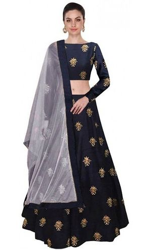 Blue Partywear Embroidered taffeta Silk Lehenga Choli With Net Dupatta