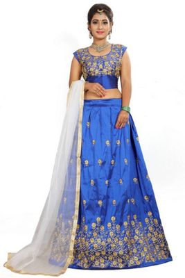 Lehenga Choli for Women Taffeta Silk Royal Blue choli