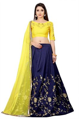 yellow blue color lehenga choli for a women's