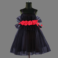 Black Net Frock With Red Flowers
