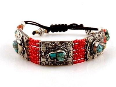 Tribal Tibetan coral bracelet