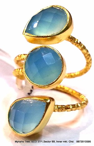 Sterling silver rings with chalcedony blue