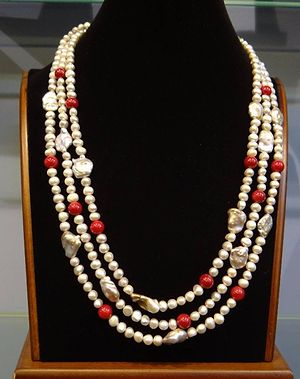Grey real pearls with coral beeds necklace