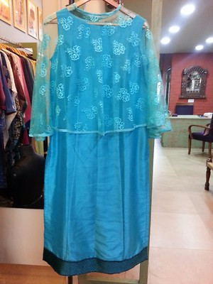 Raw silk shirt with cape and blue pant