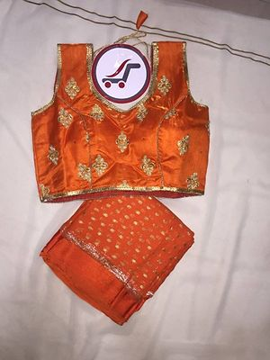 100% Pure Georgette Sattin Patti Parl Work Saree With Ready Made Full Stitchet Embroidery Parl  Work Blouse