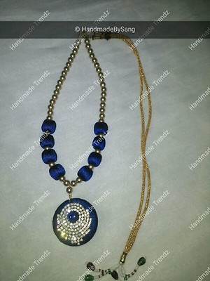 Blue silk Thread necklace