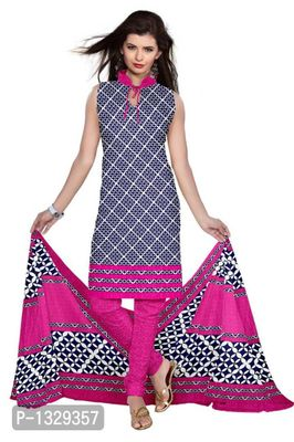 Blue Synthetic Unstitched Churidar Printed Salwar Suit Dress Materials