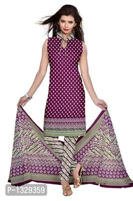 Purple Synthetic Unstitched Churidar Printed Salwar Suit Dress Materials