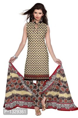 Brown Synthetic Unstitched Churidar Printed Salwar Suit Dress Materials
